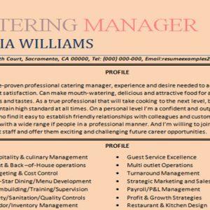 Catering manger resume sample